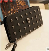 2013 new fashion skull rivet wallet ladies' cowhide long design purse for women bags women's wallet FREE SHIPPING