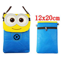 Brinquedos Anime Despicable Me Minions Toys PU Phone Bag 2Styles 5Pcs/lot Christmas Gifts For Girl Kid Free Shipping