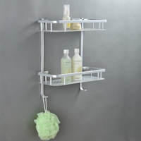 Solid double layer space aluminum bathroom shelf wall storage rack