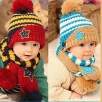 Sales!!! Scarf + Hat set for Kids Five star Striped Colorful Hats Scarves Winter Crochet Costume Hats Children Korean Beanies