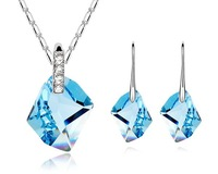 Blue Austria Crystal Earrings Necklace Set Wish Stone Bulk Top Jewelry  Bring Happiness To Life Gift