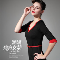 2013 spring and summer one-piece dress ol a10 color block decoration plus size formal V-neck slim spring one-piece dress
