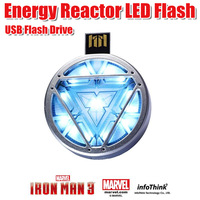 LED Flash  Iron man 3 energy reactor USB Drive 1/2/4/8/16/32/64GB USB Memory Stick Pen/Thumb/Car Flash Drives  +  Original box