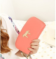 Free shipping 2013 new fashion four candy color wallet women's purse cute horse zipper long wallet  card holder PU handbag