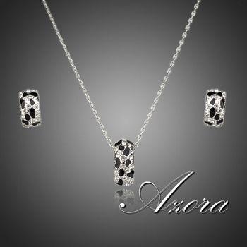 Азора бренд дизайн платиновым покрытием леопарда с горный хрусталь серьги и ожерелье ювелирные комплект TG0081