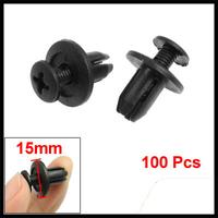 100 Pcs Car Auto 9mm Hole Black Plastic Rivet Fastener Fender Bumper Clips free shipping