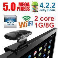 5.0MP Camera Video Chat IPTV Google Smart TV BOX Dual Core Android 4.2.2 1GB+8GB Bluetooth HDMI MINI PC Dongle,Free shipping