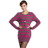 2012 women's mink sweater medium-long marten velvet dress slim thermal marten velvet sweater