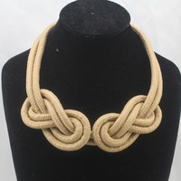 Birthday Gifts!Fashion Handmade Cotton Knitted 8 Infinity Candy Color Statement Collar Choker Necklace For Women