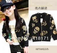 New children clothing baby girls fashion jacket coat kid child golden skull print jacket zip kids autumn outwear freeshipping