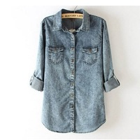 Free shipping 2014 New Women Vintage fashion trendy Color Denim Stylish Blouse Women Top Shirt S M L