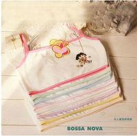 New cute cartoon kids  underwear young girl cotton Developmental  small vest bra breathable sports child bra 2pcs