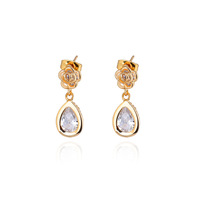 European Style Jewelry New 1Pairs Elegant Rose Shape Gold Plating Water Drop Earrings 2013 Wholesale