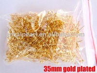 Nickel Free,DIY Jewelry Findings-35mm Gold Ball Headpin