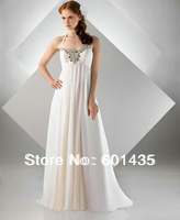 Freeshipping! WR8924 Long Beaded Chiffon Empire Waist Plus Size Maternity Wedding Dresses for Pregnant Woman