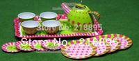 2014 promotion real mother garden child toy metal tea set iron print kitchen toy,child gift ,green toys dish , pretend play army