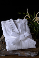 Relax Soft Comfortable  Unisex 120cm long  Pure white cotton bathrobe for Home,hotel,SPA,Massage freeshipping