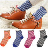 Roll-up 2013 hem plaid stripe women's 100% cotton sock cotton socks small fresh