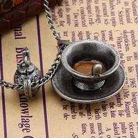 Afternoon tea vintage necklace women's long necklace clothes pendant accessories glaze silver