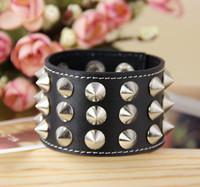 Personality punk fashion wide rivet genuine leather bracele