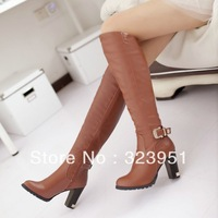 2013 sexy fashion women's high heels women buckle knee high boots winter fashion lady boots