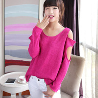 2013 autumn pullovers solid color strapless sweater casual all-match thin knitted sexy Hollow sweater fashion Knitwear woman