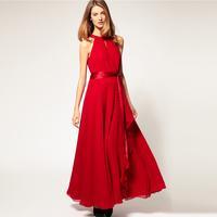 Free Shipping 2014 New Arrival Hot-selling Fashion Evening Dress Women Sleeveless Chiffon Full Length Dress Strapless Long Dress