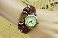 Fashion Bronze Big Butterfly Rivet Decor 3 Knitted Braids Strap Bracelt Wrist Watch Women lovers Gift Roma Header Free Shipping