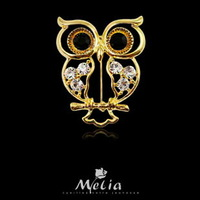 Fashion accessories classic crystal brooch elegant owl brooch personalized cartoon pin