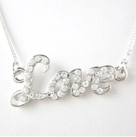 Accessories female czech rhinestone love chain letter colnmnaris necklace
