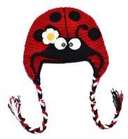 Retail  100% handmade animal crochet hat ladybug baby knitted hats ,ladybug kid's hat,kid's cap bomber hat