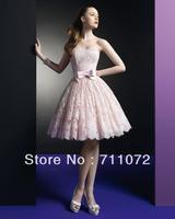 Dream Beautiful Ball Gown Knee Length Applique Lace Beaded Princess Strapless Pink Zuhair Murad Prom Dresses Short