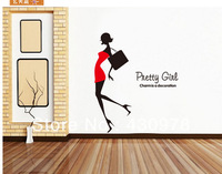 QZ522 Free Shipping 1 Pcs Charm Gorgeous Sexy Fashion Morden Lady Red Skirt Removable Wall Stickers Home Decoration