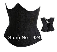 Black Full Spiral Steel Boned Waist Training Cincher Open Bra Shapers Body Bridal Waspie Underbust Sexy Corset (S M L XL 2XL)