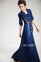New  Designer Tencel Silk Long Maxi Denim Jacket Coat outerwear blue for tall women autumn spring S M L XL 2XL