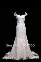 Cap Sleeves White Ivory Lace Wedding Dress Size Custom 2 4 6 8 10 12 14 16 18+++