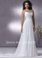 Sexy stock amazing new chiffon white wedding dress size