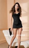 New 2014 Spring 2014 Sexy Corset Black Strip Top Busiter corset dress Top Basque Mini Skirt  Fancy Costume Size (S,M,L,XL,XXL)