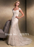 2014 New A Line White/Ivory Lace Applique  Wedding Dresses Sweetheart  High Quality Sexy Bridal Gown Custom Size Free Shipping