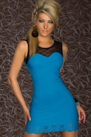 3 Colors 2013 New Arrival Sexy Nightclub Dresses Summer 2013 Sexy Women's Party Evening Lace One Piece Mini Dress Size S M