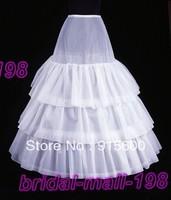 WHITE 3-Hoop 3-Layer Bride wedding petticoat