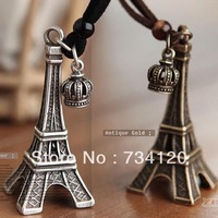 N021  Min.order is $10 (mix order),free shipping Vintage Eiffel Tower Crown Leather necklace sweater chain
