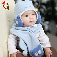 2996 princess winter baby hat scarf twinset owl ear protector cap baby hat