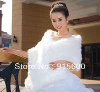 New wedding bride shawls, faux fur. White