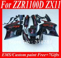 Red white flames gloss black Fairing kit for KAWASAKI  ZZR1100 93 03 ZZR 1100D 1993 2001 ZZR1100 93 97 98 99 00 01 02 Fairings