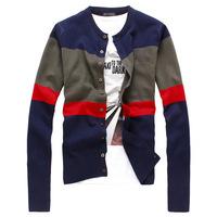 Free shipping 2014 New fashion sale Autumn/Winter Korean mens plus size brand casual Slim stripe cardigan coat sweater jacket