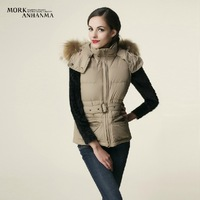 2013 new Finland winter raccoon fur collar ladies slim down vest