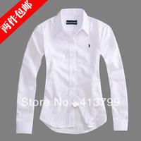 2013 spring women's 100% cotton long-sleeve shirt ol work wear female shirt white