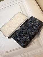Free Shipping High Quality Luxury Magnetic PU Leather Rhinestone Case Cover With Pockets Pouch For iphone4 For iphone4s