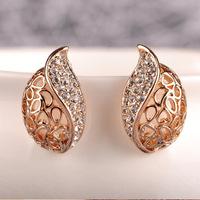(Minimum order $ 10) 3pair E001 Korean wholesale half drill leaf bud elicate fair maiden stud earrings jewelry 3pair